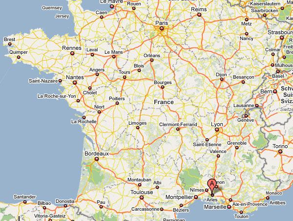 Where is Arles in France The geographical location of Arles in France